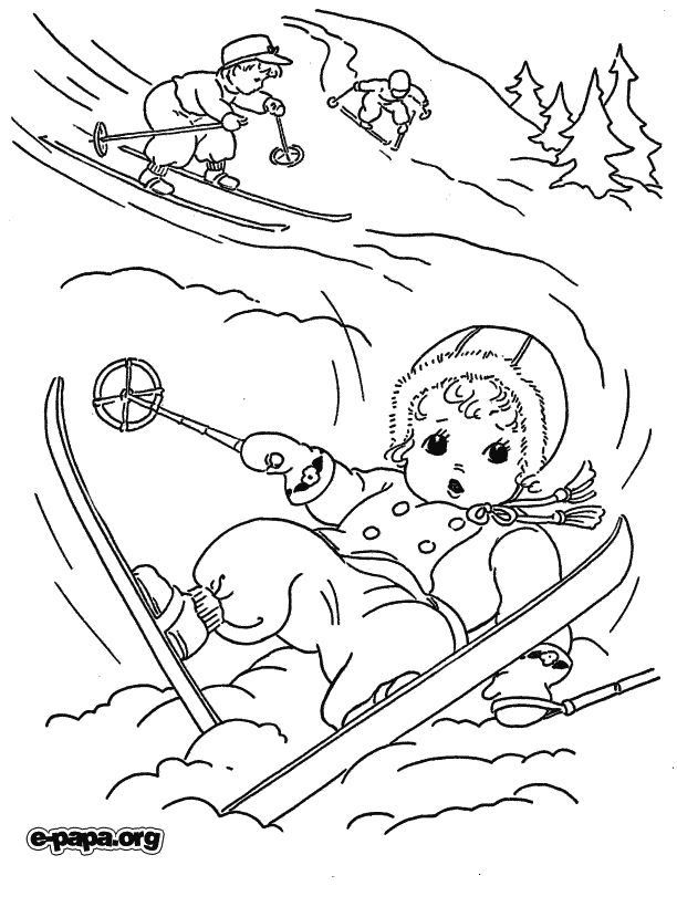 skidåkning Målarbilder Målarbilder Vinter