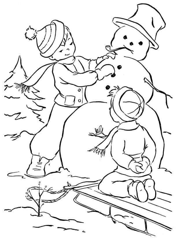 pojke och snögubbe Målarbilder Målarbilder Vinter