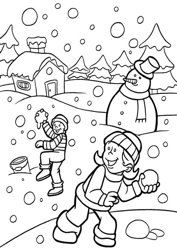 kasta snöboll Målarbilder Målarbilder Vinter