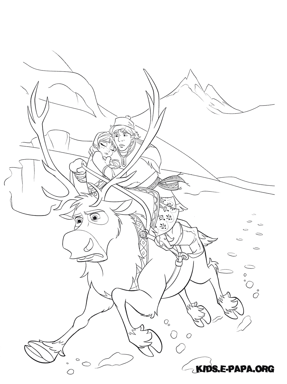 Frozen Coloring Pages Young Kristoffers Young Kristoff And Sven
